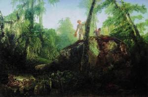 """Ещё одна картина, написанная Саврасовым в 1850 году в Григорове - """"Камень в лесу у разлива"""". Утверждается, будто бы на полотне изображён сын И.Д. Лужина с другом - сыном своей кормилицы."""
