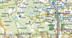 Карта местоположения упомянутых в очерке храмов.