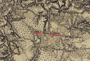 Карта Шуберта 1850 года. Фрагмент. Село Дьяково Дмитровского уезда.