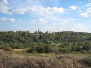 Вид на уцелевшую колокольню Христорождественского храма в селе Языково.
